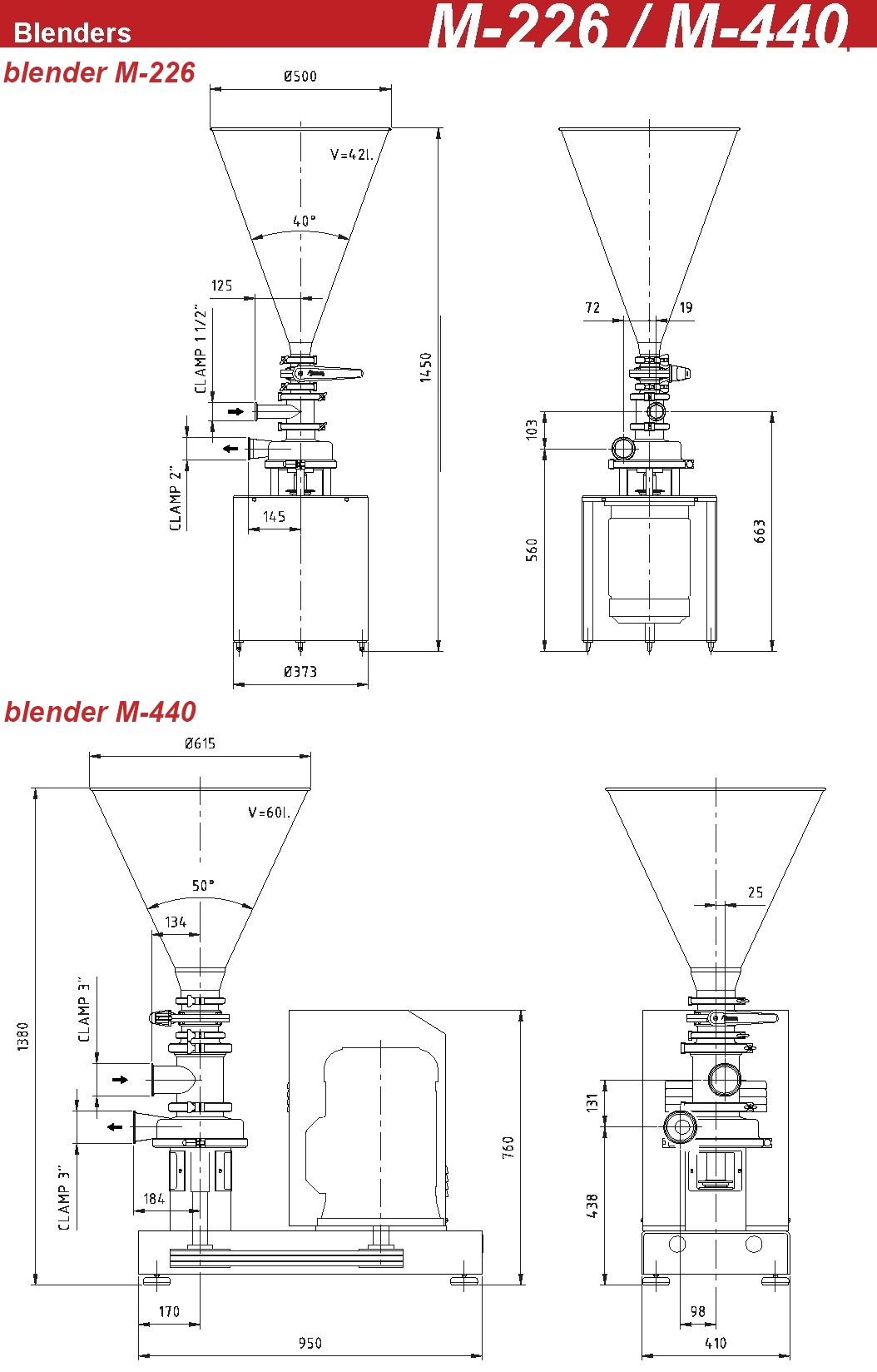 ابعاد مخلوطکن های M-226 و M-440 اینوکسپا inoxpa